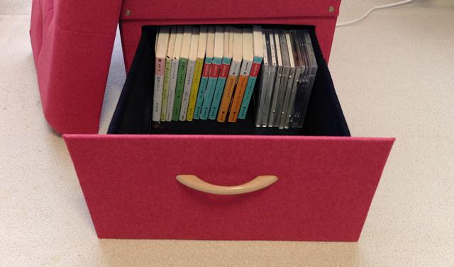 文庫本やCDは、タテ置きでも入ります
