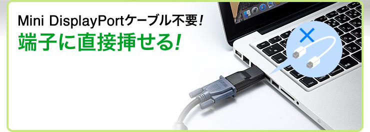 Mini DisplayPortケーブル不要