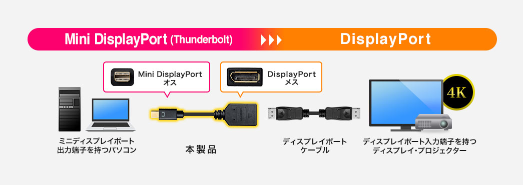 Mini DisplayPort(Thunderbolt)→DisplayPort