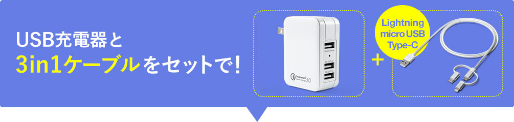 USB充電器と3in1ケーブルをセットで