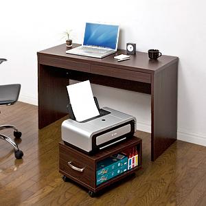【クリックで詳細表示】パソコンデスク(薄型ワイド・ワゴン付・ホテルデスクタイプ) 100-DESK037