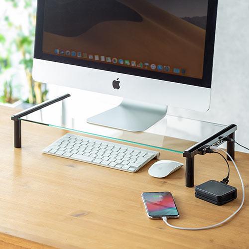 モニター台(机上台・ガラス製・USB充電対応・幅53cm)