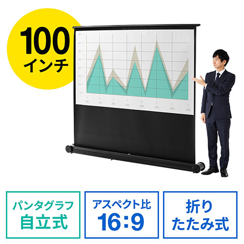 【オフィスアイテムセール】プロジェクタースクリーン(簡単設置・自立・パンタグラフ式・持ち運び可能・床置き・移動ローラー付・100インチ)