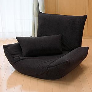 【クリックでお店のこの商品のページへ】座椅子(肘掛け付・リクライニング機能・ブラック) 100-SNC020BK