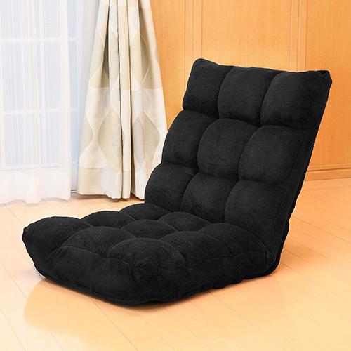 ふあふあフロアチェア(幅50cm・低反発ウレタン座椅子・42段階調整・ブラック)