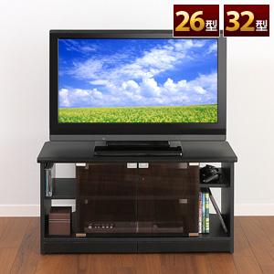 【クリックで詳細表示】液晶テレビ台(壁寄せ&コーナーの両用タイプ・ガラス扉付き・26型、32型対応) 100-TV001
