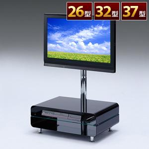【クリックでお店のこの商品のページへ】液晶テレビ台(スタンドタイプ・26型、32型、37型対応・ブラック) 100-TV004BK