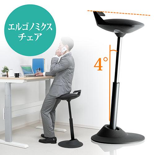 エルゴノミクスチェア(人間工学椅子・高さ調整・上下昇降デスク対応・muvman・座面4度傾斜・耐荷重120kg・ブラック)