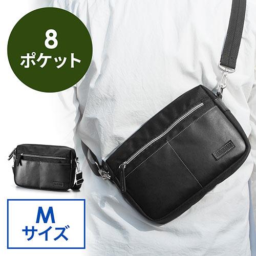 ミニショルダーバッグ(斜めがけバッグ・合皮・タブレット収納・サコッシュ・Mサイズ・ブラック)