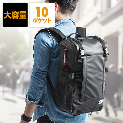 スクエアリュック・バックパック(メンズ・通学/通勤対応・iPad/PC収納・A4サイズ対応・ブラック)