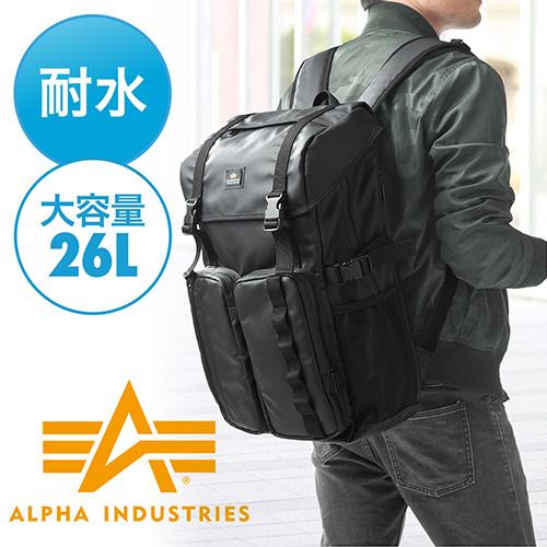 スクエアリュック・バックパック(ビジネス・A4・通勤・通学・iPad・PC収納・大容量26リットル・ブラック)
