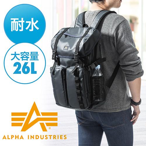【オフィスアイテムセール】 スクエアリュック・バックパック(ビジネス・A4・通勤・通学・iPad・PC収納・大容量26リットル・ネイビー)