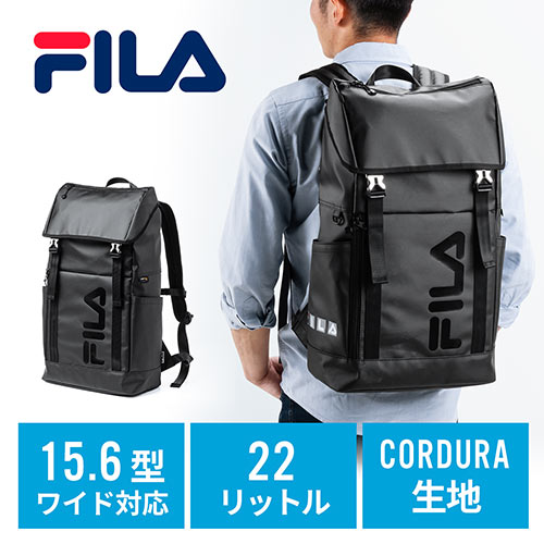 FILAリュック(大容量22L・黒・メンズ・レディース・スクエアリュック・バックパック)