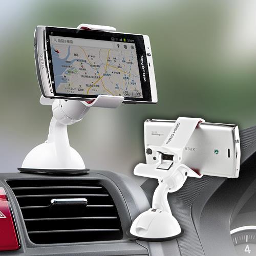 【クリックで詳細表示】iPhone・スマートフォン車載ホルダー(ホワイト) 200-CAR008W