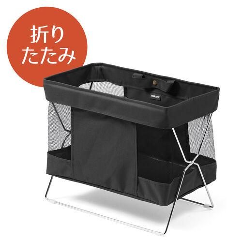 収納ボックス(折りたたみ・かご・カバン入れ・机下収納・布・ブラック)