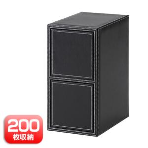 【クリックでお店のこの商品のページへ】DVD・CD収納ボックス(レザータイプ・200枚・ブラック) 200-FCD013BK