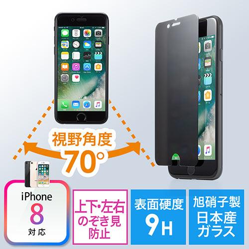 iPhone 8/7プライバシーガラスフィルム(マイナンバー・セキュリティー対策・上下左右覗き見防止・硬度9H)