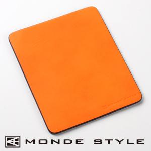 【クリックでお店のこの商品のページへ】【わけあり在庫処分】 MONDE STYLE ヌメ革マウスパッド(オレンジ) 200-MPD009D