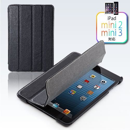 7c9c498e8d iPad miniレザーケース(本革・スタンド機能・ブラック)200-PDA108BKの ...
