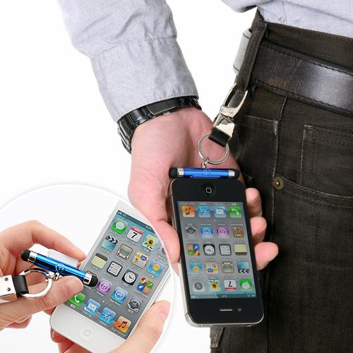 【クリックでお店のこの商品のページへ】【わけあり在庫処分】 iPhoneストラップ(タッチペン付・ブルー) 200-ST004BL