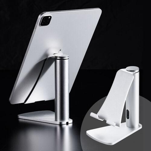 【ハロウィンセール】iPad・タブレットPCアルミスタンド(縦置・横置き対応・シルバー)