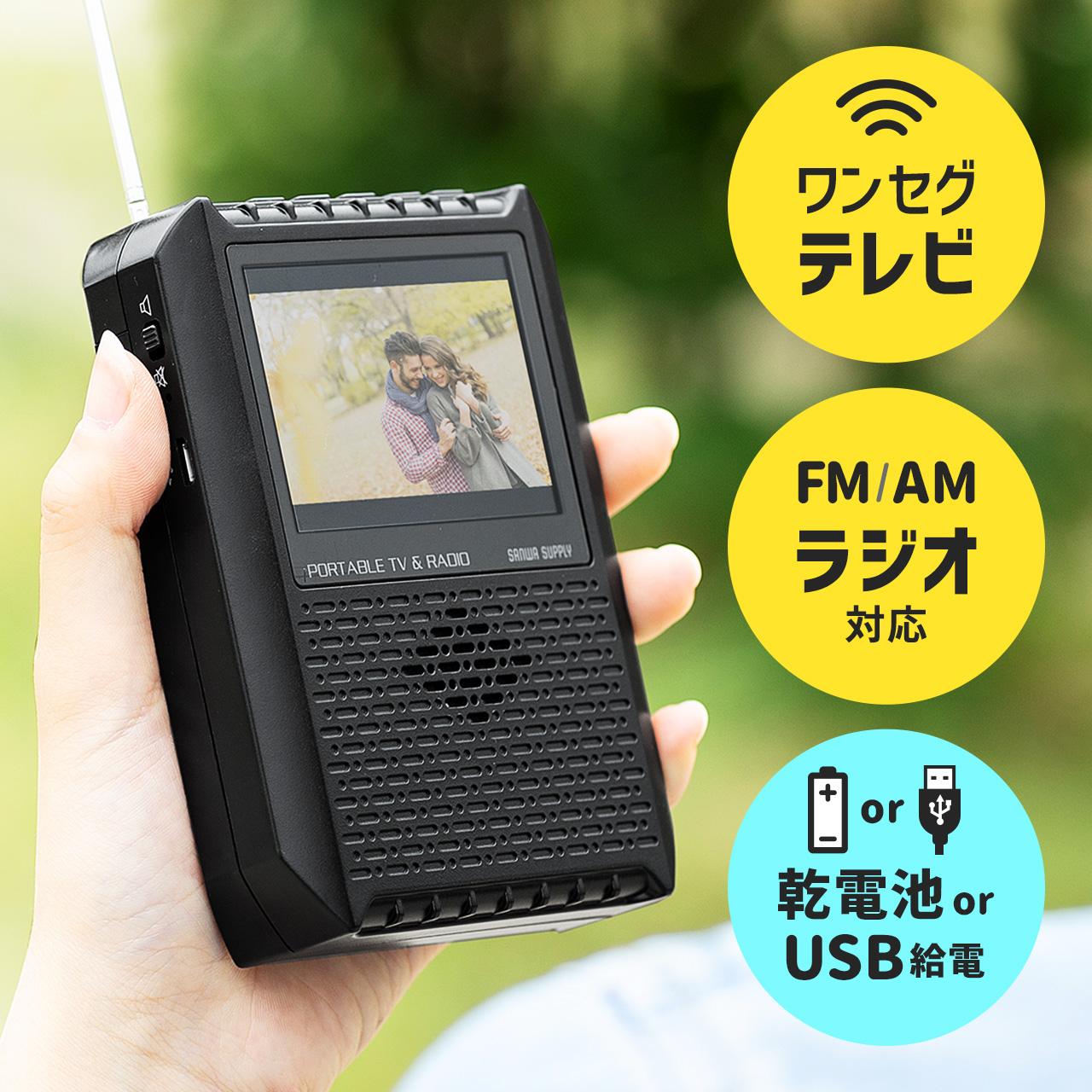 ワンセグテレビ(ポータブル・FM/AMラジオ搭載・アンテナ内蔵・電池 ...