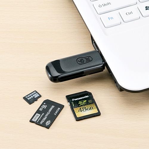 サンワダイレクトで買える「カードリーダー(microSD&SDHC&SDXC&メモリースティックPRO&PS3対応・ブラック) サンワダイレクト サンワサプライ 400-ADR105」の画像です。価格は550円になります。