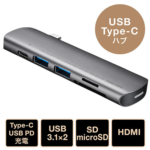 MacBook用カードリーダー(USB PD・HDMI・USB3.1 Gen1・SD・microSD・Mac)