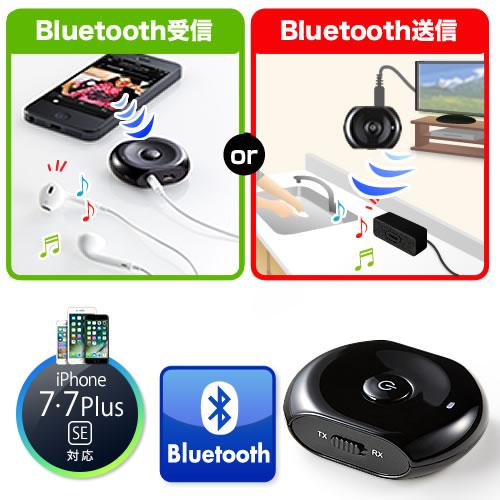 【クリックで詳細表示】Bluetoothオーディオレシーバー&トランスミッター(受信機&送信機・3.5mmプラグ接続) 400-BTAD001