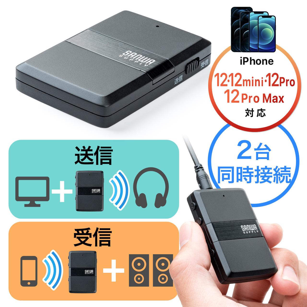 Bluetoothオーディオレシーバー&トランスミッター(2台同時接続・apt-X Low Latency対応・低遅延) サンワダイレクト サンワサプライ ..