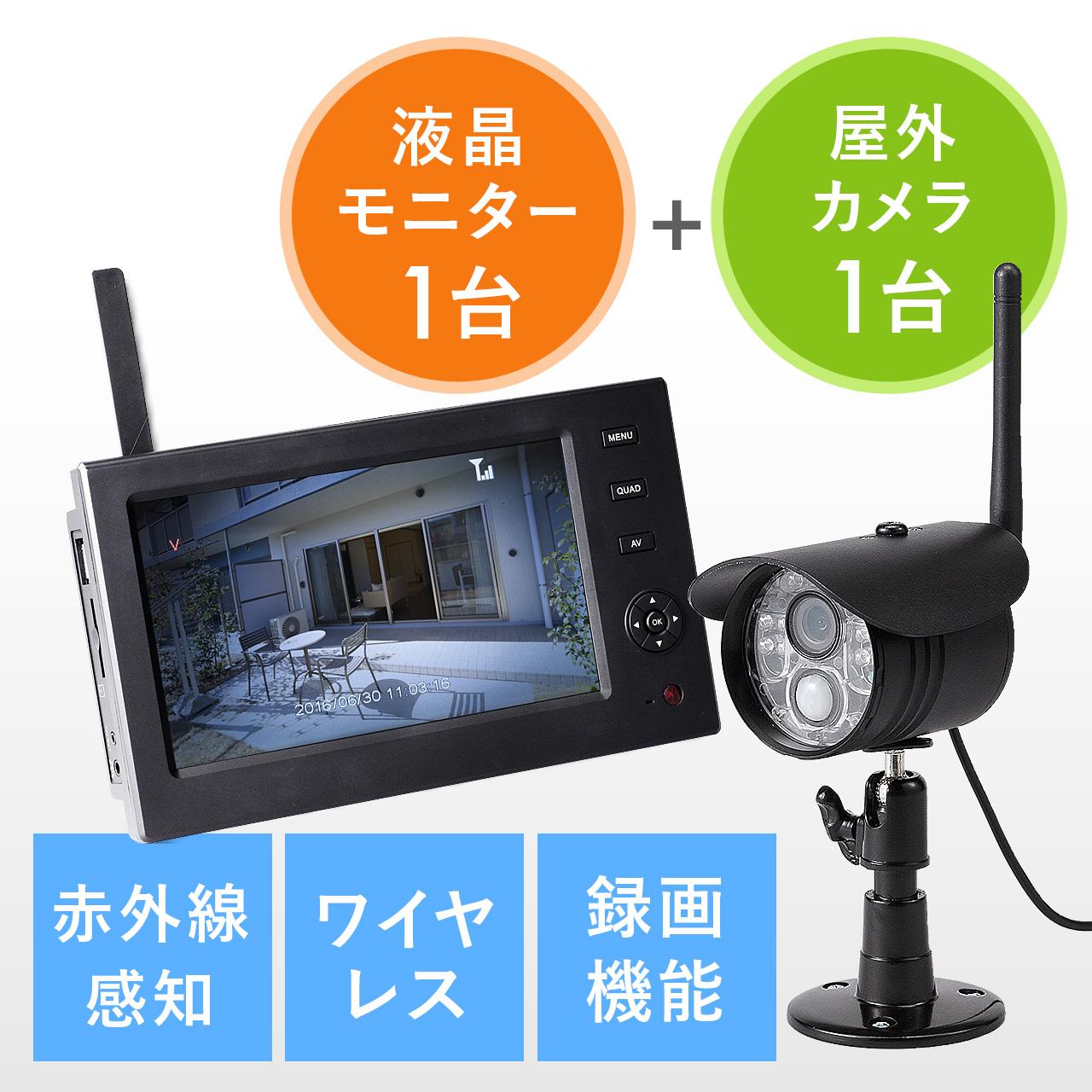 ワイヤレスカメラ&モニターセット(防水屋外カメラ・ワイヤレスカメラ1台セット・録画対応・SD/USBメモリー接続対応) サンワダイレクト サンワサプライ 400-CAM055-1