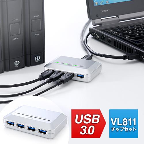 【オフィスアイテムセール】USB3.0ハブ(4ポート・セルフパワー&バスパワー・シルバー)