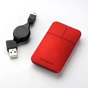 【クリックでお店のこの商品のページへ】ポケットマウス(薄型・光学式・巻き取りケーブル・レッド) 400-MA019R