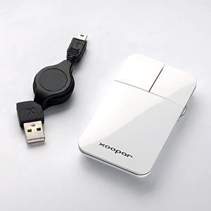 【クリックでお店のこの商品のページへ】ポケットマウス(薄型・光学式・巻き取りケーブル・ホワイト) 400-MA019W