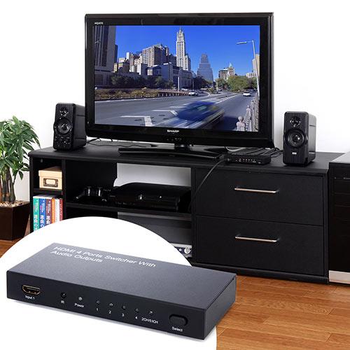 HDMIセレクター(HDMI切替器・4入力×1出力・光、同軸デジタル音声出力端子付き・)