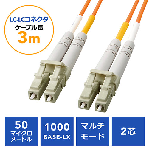 光ファイバケーブル(LCコネクタLCコネクタ・コア径50マイクロメートル・3m)