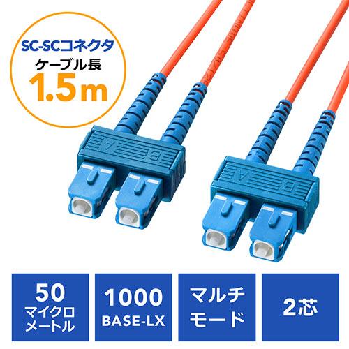光ファイバケーブル(SCコネクタSCコネクタ・コア径50マイクロメートル・1.5m)