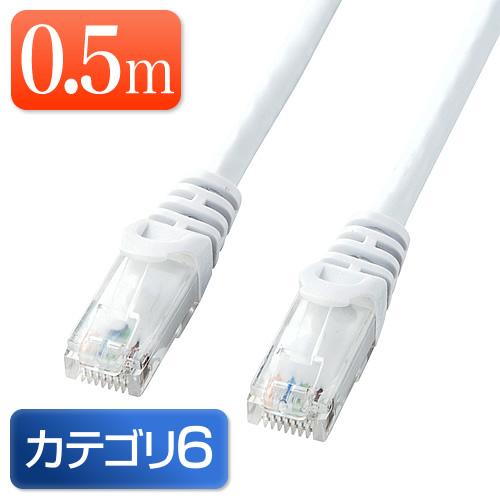 【オフィスアイテムセール】Cat6 LANケーブル 0.5m (カテゴリー6・より線・ストレート・ホワイト)