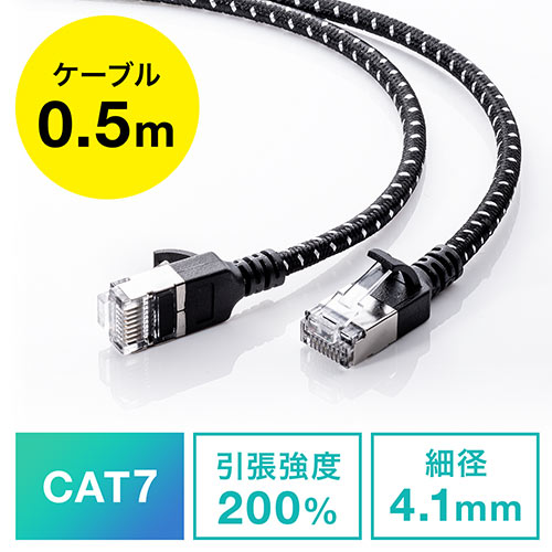 LANケーブル(CAT7・メッシュ・スリム・伝送速度10Gbps・伝送帯域600MHz・ツメ折れ防止カバー・50cm)