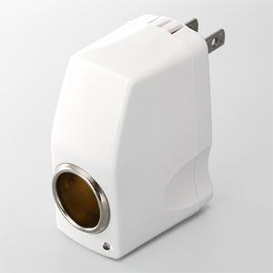 【クリックで詳細表示】DC-ACコンバーター(屋内用AC-シガーソケット変換アダプタ) 700-AC003