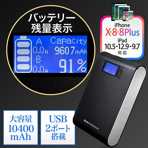 【クリスマスセール】【飛行機持込可】モバイルバッテリー(大容量10400mAh・2.4A・急速充電対応・デジタル残量表示・出力電流値表示)
