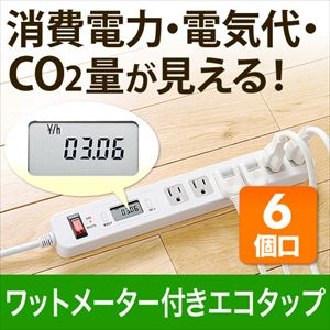 サンワダイレクトワットメーター付き節電エコタップ(消費電力計・一括集中スイッチ・6個口・2m)