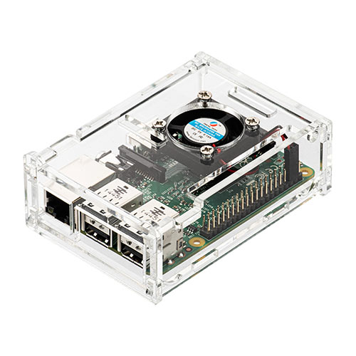 Raspberry Pi専用ケース(Pi 3 Model B/Pi 2 Model B/Pi Model B+対応・ファン付・ネジ付・クリア)