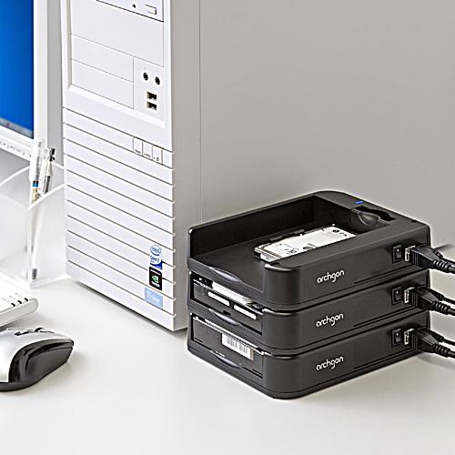 【クリックでお店のこの商品のページへ】HDDケース(USB3.0・SATA接続・2.5&3.5インチ両対応・スタック構造) 800-TK018