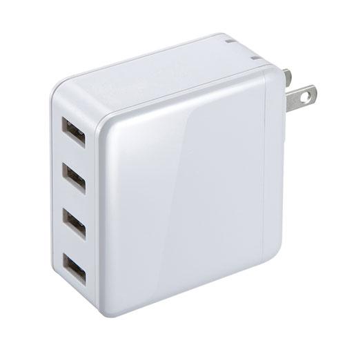 【期間限定価格】USB充電器(合計6A・4ポート・ホワイト)