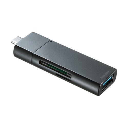Type-Cカードリーダー(USB Aポート付き・コンパクト・ブラック)