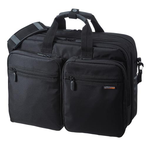 【クリックで詳細表示】3WAYビジネスバッグ(15.6型ワイド・ダブル・出張用・ブラック) BAG-3WAY21BK