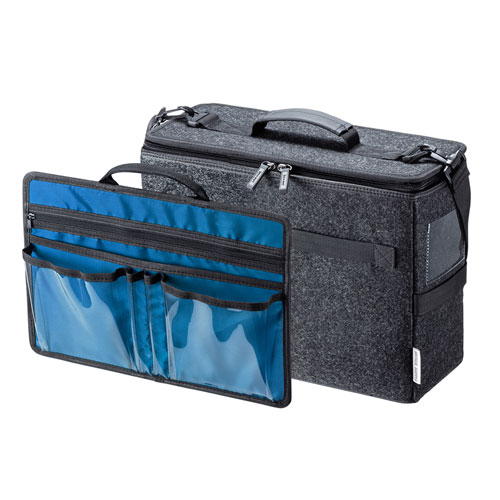 ミーティングバッグ(モバイルバッグ・ボックス型・13.3インチワイド・内装ブルー)