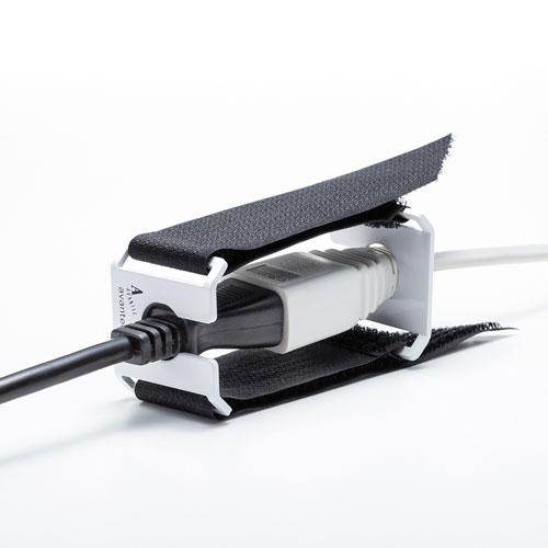 I/Oロックジョイント(AC電源中継プラグ対応・抜け防止・面ファスナー取り付け)