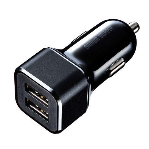 USBカーチャージャー(2ポート・合計最大4.8A・12V/24V車対応)